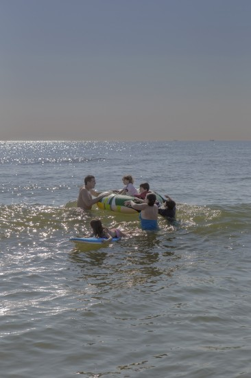 My Brother and His Entire Family Afloat in the Ocean, Long Beach Island, New Jersey, 2012.